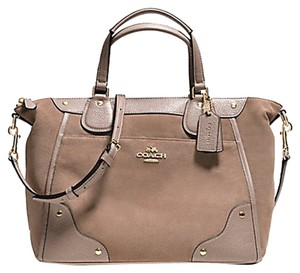 Coach Grain Leather White Shoulder Mickie 34040 35778 Satchel in Stone Light Tan