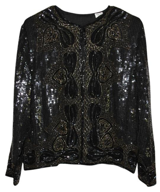 Item - Black Gold Sequin Beaded Silk Retro Fall Winter Longsleeve Party Jacket Size 10 (M)