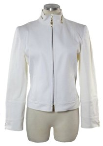 St. John Full-zip Stretch Cotton Ivory Jacket