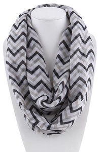 Unknown Black and Gray Chevron Infinity Loop Scarf