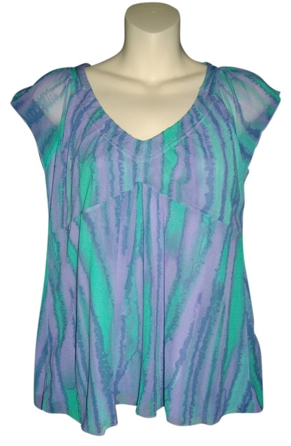 DKNY Top Lavender and teal green