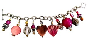 Other Handmade Charm Bracelet Pink Hearts Silver Tone Chunky J26