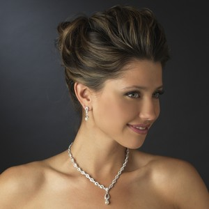 Elegance By Carbonneau Ivory Pearl And Cz Wedding Jewelry Set