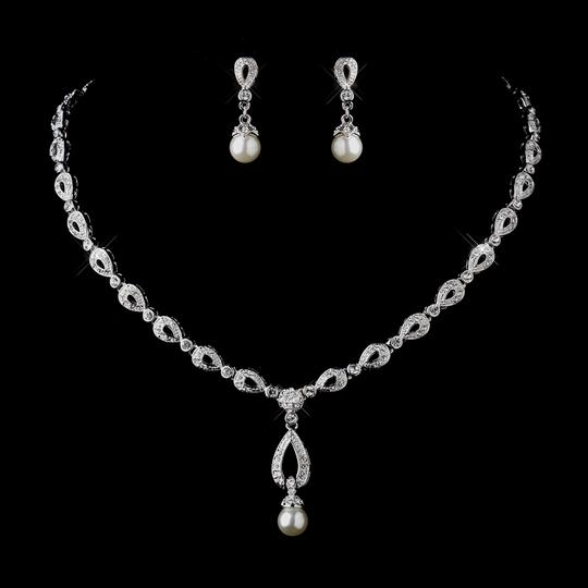 Elegance by Carbonneau Silver/Light Ivory Pearl and Cz Jewelry Set
