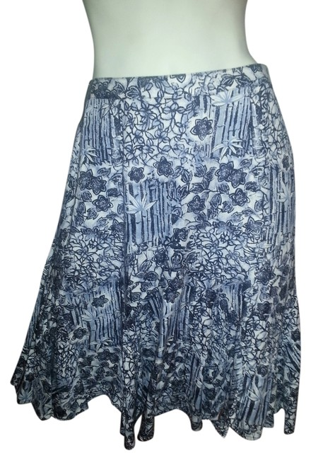 Hearts of Palm Skirt muti blue floral on white