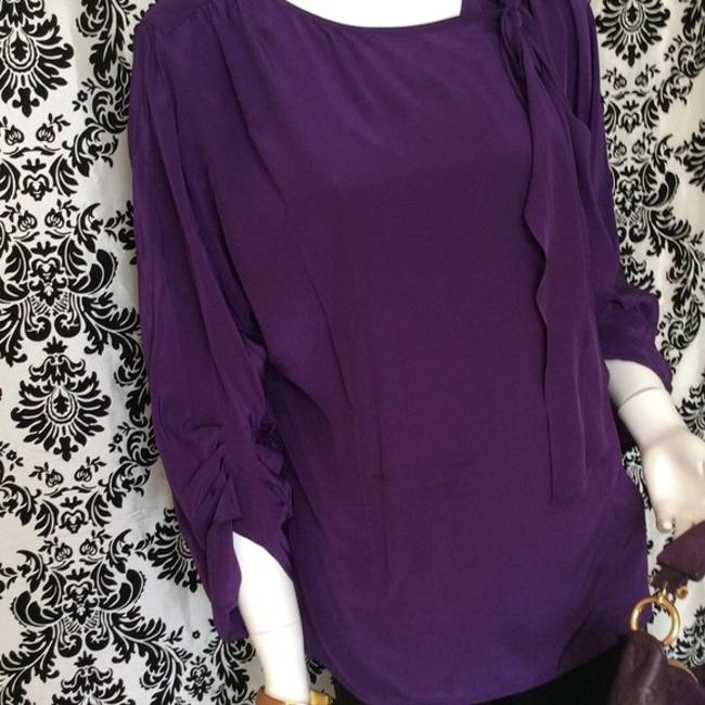 BCBGMAXAZRIA Silk Tie Top Grape