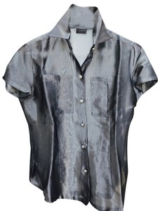 Versace Made In Italy Sheer Ittierre Couture Buttons. Top Gunmetal Gray