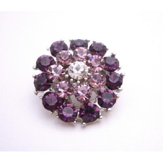 Purple/Amethyst Exclusive Lite Crystal Prom Brooch/Pin