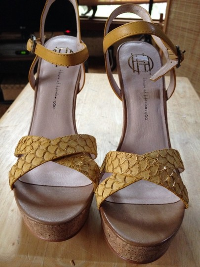 House of Harlow 1960 Snakeskin Leather Yellow Wedges Image 1