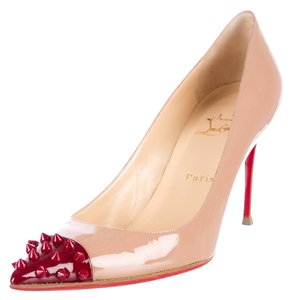 Christian Louboutin Geo Patent Patent Leather Nude, Red Pumps