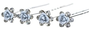 (Set of 5) Light Blue Flower Hair Pins