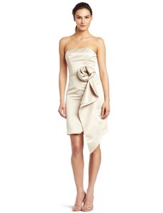 A.B.S. By Allen Schwartz Champagne Strapless Bustier With Belt Dress Dress
