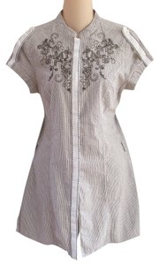 Lulumari short dress Anthropologie M Cotton Pinstripe Floral Embroidered Brown White Button Down on Tradesy