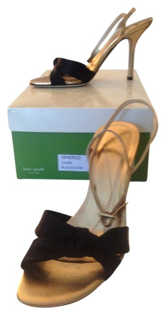 Item - Black Satin and Gold Loupe Formal Shoes Size US 6.5 Regular (M, B)