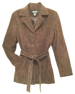 New York & Company Suede Leather Dress Designer Brown Leather Jacket