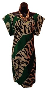 Diane von Furstenberg short dress Green, black, off white on Tradesy