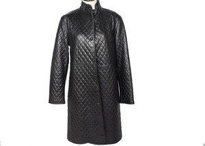 Hilary Radley Leather Quilted Full Length Coat