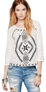 Free People Top Ivory/ Blue Chevron