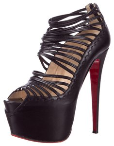 Christian Louboutin Leather Caged Strappy Platform Ankle Ankle Strap 38 8 Hidden Platform Peep Toe Stiletto Pump Textured Black Boots