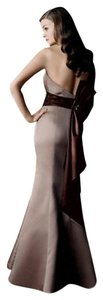 David's Bridal Brown Latte/Truffle David's Bridal Satin Trumpet A-line W/jeweled Brooch Dress