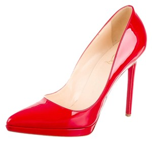 Christian Louboutin Patent Patent Leather Plato Pointed Toe Stiletto Platform Hidden Platform Sexy Sole 40 10 New Red Pumps