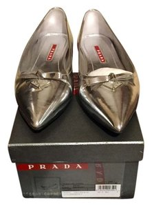 Prada Leather Runway Ballet Silver Flats