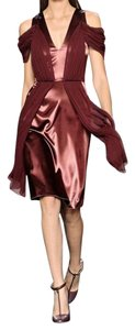Christopher Kane Draped Chiffon Satin Runway Dress