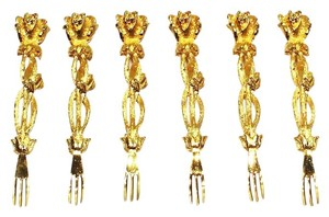24K Gold Plated Oyster Forks from The Janis Collection;