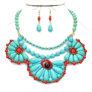 Semi Precious Turquoise Multicolor Fashion Necklace and Earring