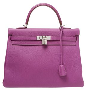 Hermès Anemone Togo Kelly 35 Tote in Purple