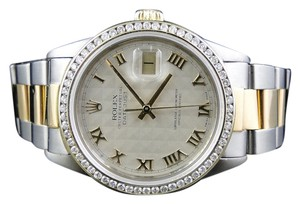 Rolex Mens Two Tone Datejust Oyster Diamond 16013 Watch 18k Steel Band 3 Ct