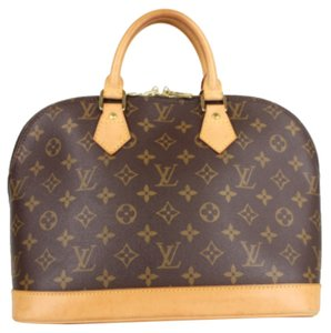 Louis Vuitton Lv Lock And Key Alma Monogram Satchel Tote in Brown