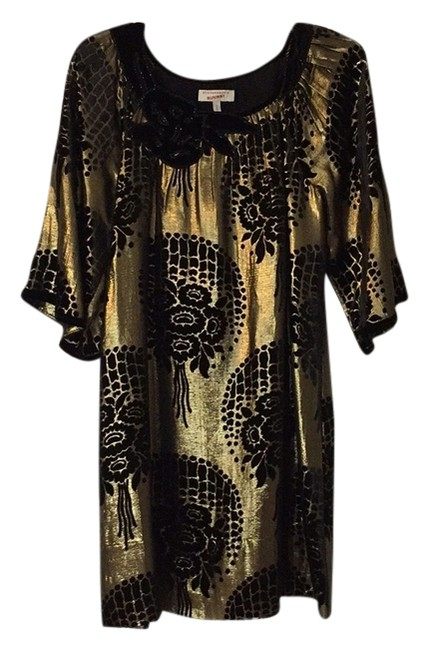 Item - Runway Black and Gold Short Night Out Dress Size 0 (XS)