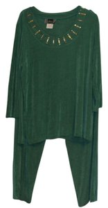 Slinky Brand Slinky Brand Embellished Top Pant Suit with Elastic Waist Size Large