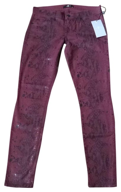 Item - Burgundy Coated The Skinny Jeans Size 26 (2, XS)