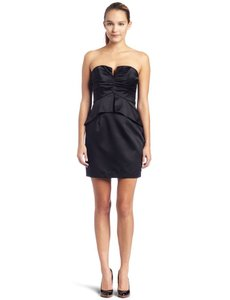 A.B.S. By Allen Schwartz Black Strapless Ruched Bodice Peplum Dress Dress