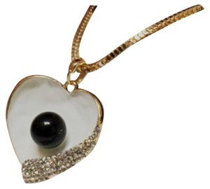 Other Black Pearl Ivory Heart Rhinestone Crystals Pendant Chain Necklace