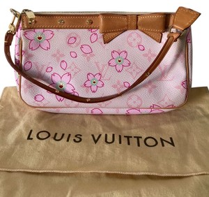 Louis Vuitton Gold Hardware Leather Pinks, Brown Clutch