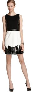 Laundry by Shelli Segal Leather Color-blocking Applique Dress