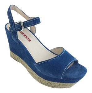 Prada Blue Wedges