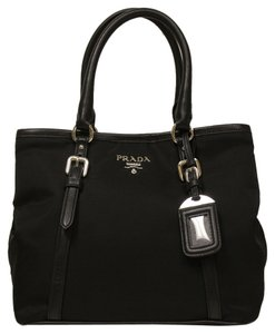 Prada Soft Calf Leather Tote in black