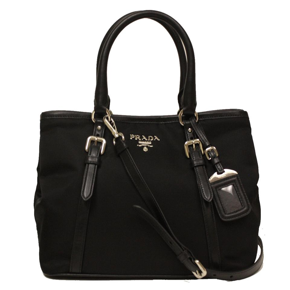 prada black tote in soft calf leather