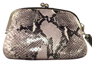 Coach Black, Gray, White (Snakeskin Pattern) Silver Hardware, Black Patent Leather Hang Tag Clutch