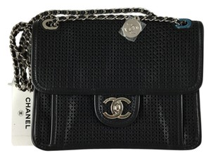d3c6e74580f41a Chanel Flap Front Flap Perforated Calfskin Chain Silver Medallion Shoulder  Bag