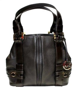 Michael Kors Harness Leather Satchel in Chocolate Brown