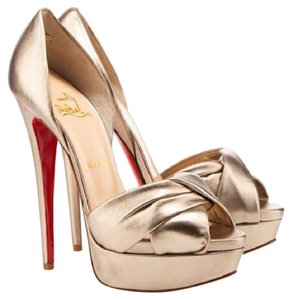 Christian Louboutin Volpi 160mm D'orsay Light Gold Pumps