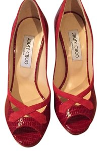 Jimmy Choo Suede Red Platforms