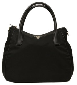 Prada Leather Nylon Handbag Hobo Bag