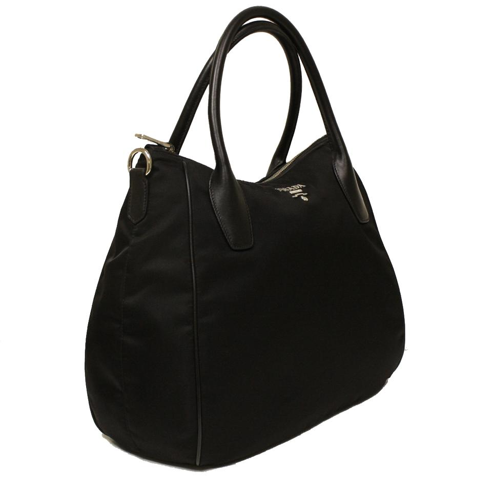 75249e109960 Prada Handbag Br4992 Black Tessuto + Soft Calf Leather (Nylon and ...