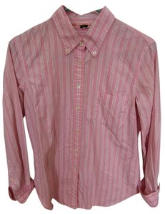 J.Crew Button Up Stripes Cotton Button Down Shirt Pink and white